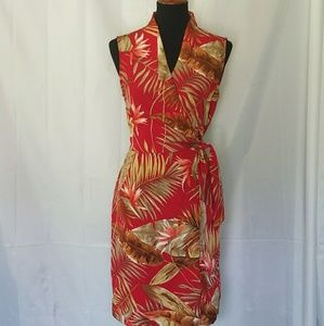 DRESS BARN RED TROPICAL PRINT WRAP DRESS 8